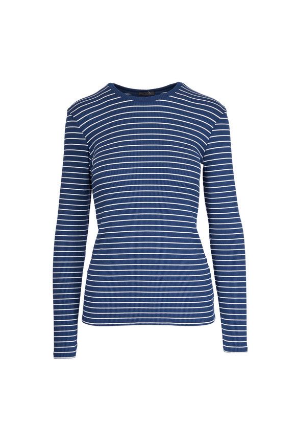 A T M Ocean Blue Ribbed Striped T-Shirt