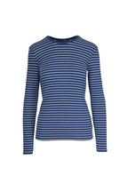 A T M - Ocean Blue Ribbed Striped T-Shirt