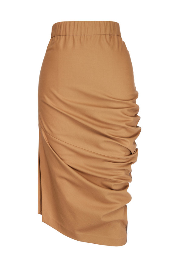Brunello Cucinelli Cigar Twill Pull-On Rouched Skirt