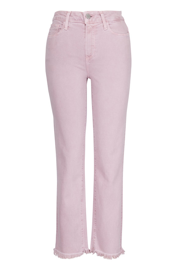 Paige Denim Hoxton Lavender Bloom Straight Leg Raw Hem Jean