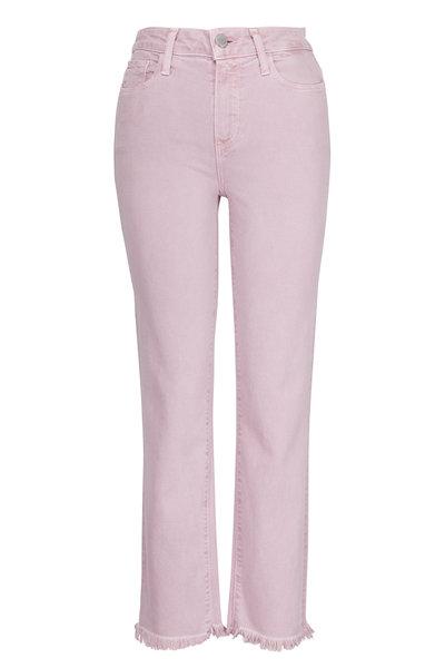 Paige Denim - Hoxton Lavender Bloom Straight Leg Raw Hem Jean