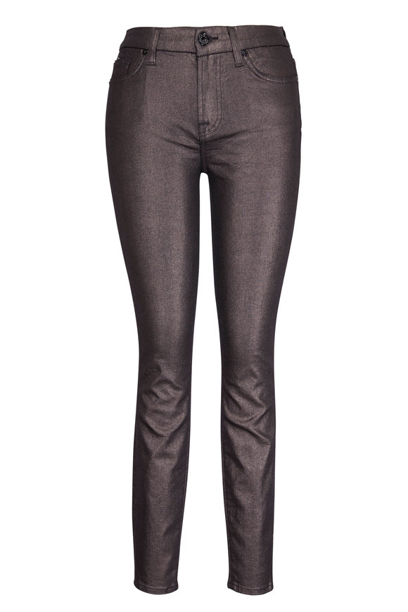 7 For All Mankind Shine Gunmetal Ankle Skinny Jean