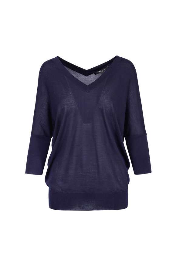 Derek Lam Navy Cashmere & Silk Batwing Sweater