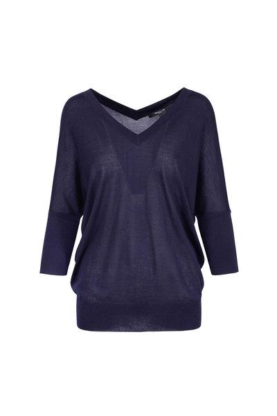 Derek Lam - Navy Cashmere & Silk Batwing Sweater