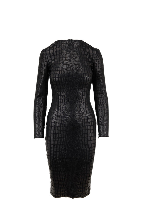 Tom Ford Black Croc Jersey Long Sleeve Dress