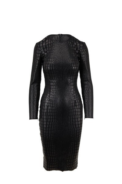 Tom Ford - Black Croc Jersey Long Sleeve Dress