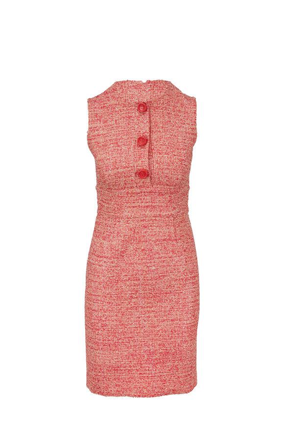 Paule Ka Pink Tweed Button Front Dress