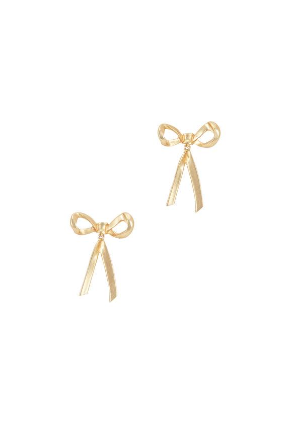 Oscar de la Renta Yellow Gold Bow Earrings