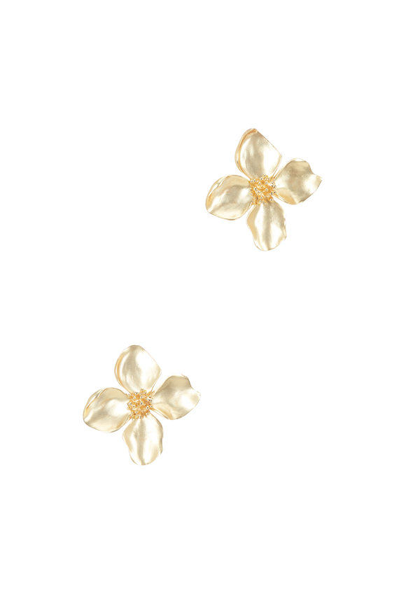 Oscar de la Renta Yellow Gold Flower Clip On Earrings
