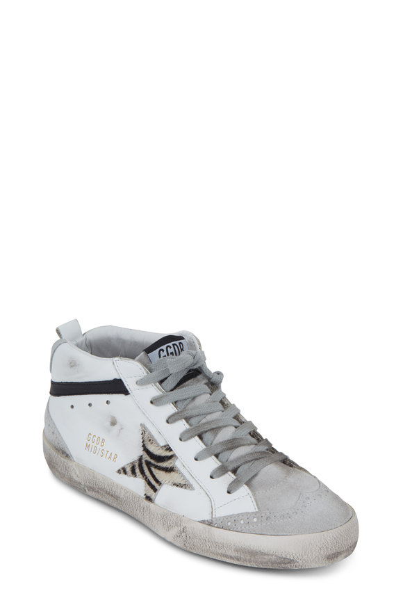 Golden Goose Midstar White & Silver Zebra Fur Star Sneaker