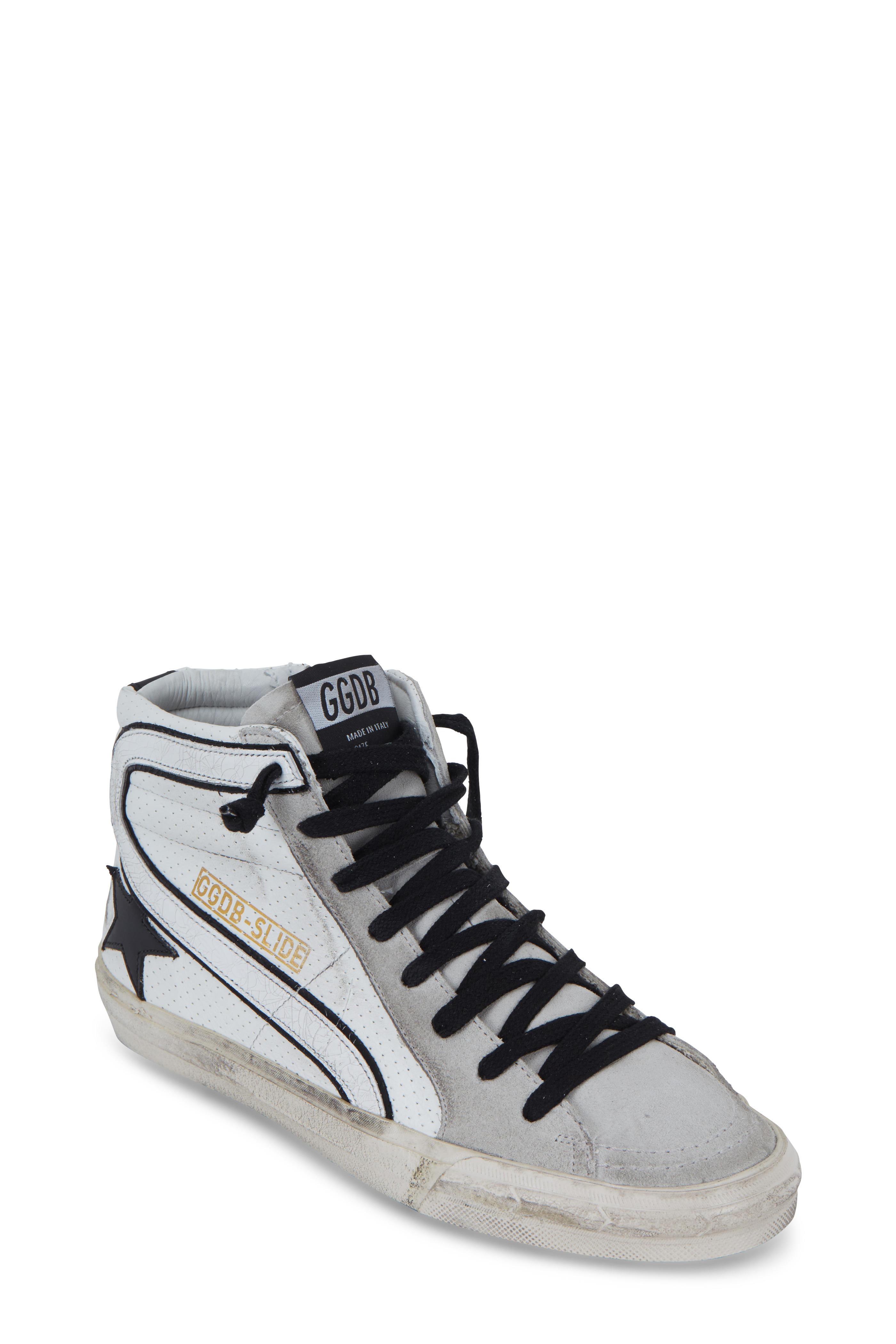391a4a4193853 Golden Goose - Slide White Leather   Black Slide High Top Sneaker ...