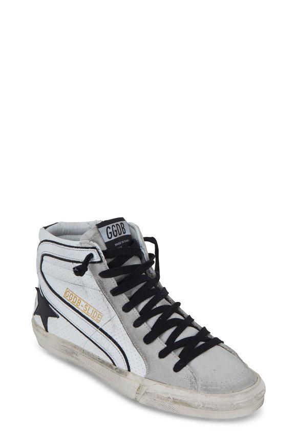 Golden Goose Slide White Leather & Black Slide High Top Sneaker