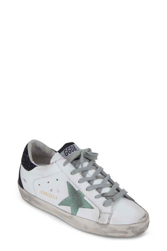 Golden Goose Superstar White & Mint Star Glitter Sneaker