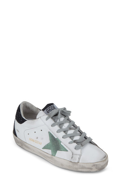 Golden Goose - Superstar White & Mint Star Glitter Sneaker