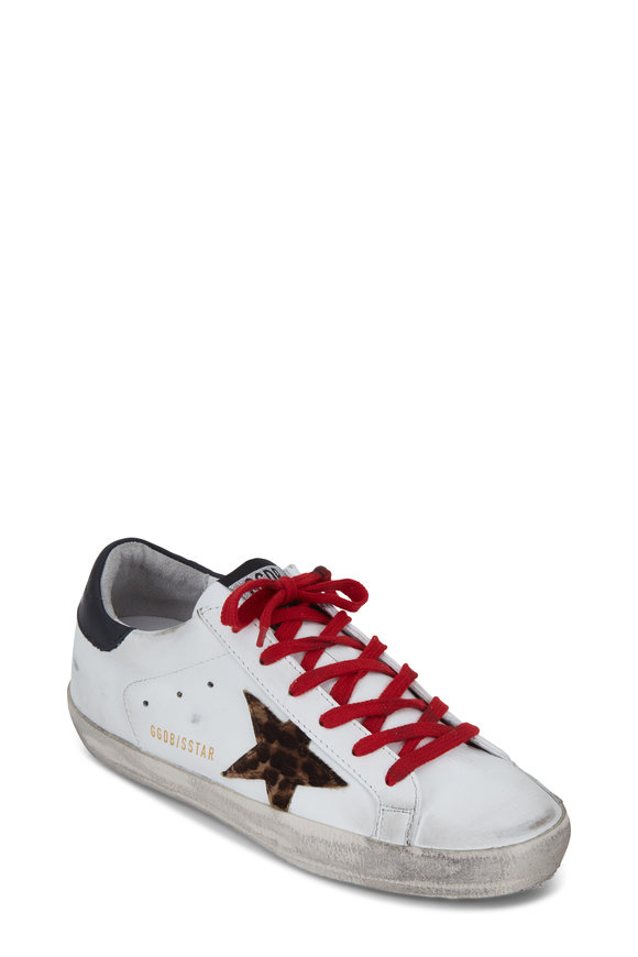 Golden Goose Superstar White Leather & Leopard Star Sneaker