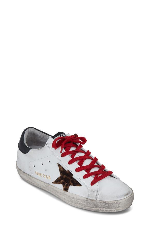Golden Goose Superstar White Leather & Leopard Star Sneaker