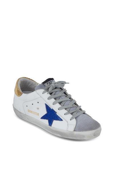 Golden Goose - Superstar White & Blue Glitter Star Sneaker