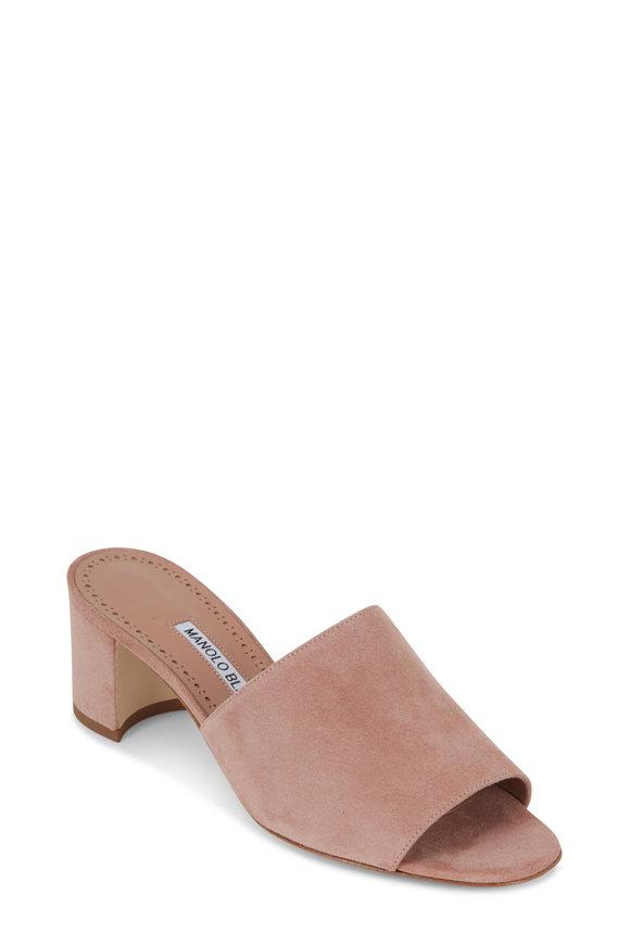 Manolo Blahnik Rapallato Rose Suede Slide Sandal, 50mm