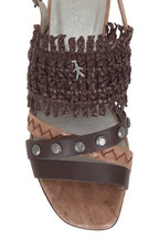 Henry Beguelin - Castagno Brown Woven & Studded Sandal, 50mm