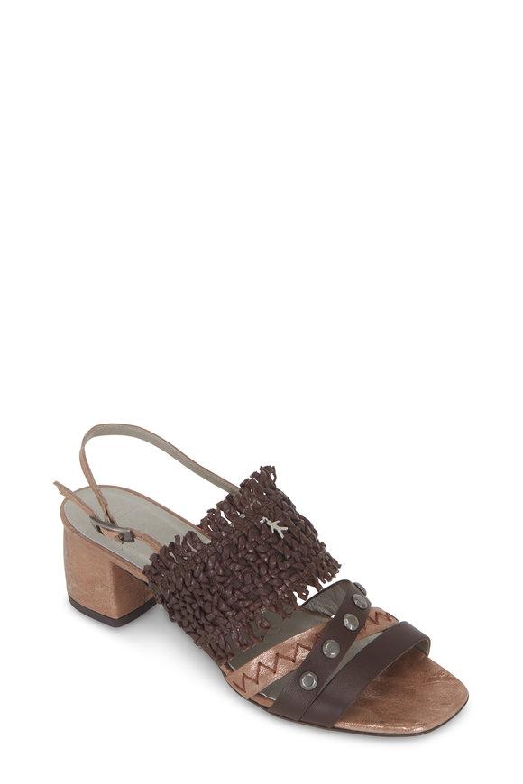 Henry Beguelin Castagno Brown Woven & Studded Sandal, 50mm