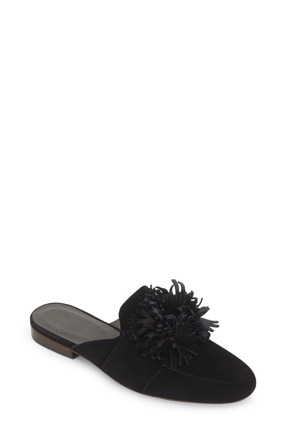 Henry Beguelin Ciabattina Black Suede Floral Mule