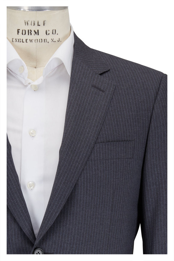 Canali Gray & Light Blue Pinstripe Wool Suit