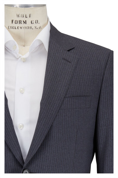 Canali - Gray & Light Blue Pinstriped Wool Suit