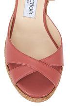 Jimmy Choo - Alanah Rosewood Leather Wedge Sandal, 80mm