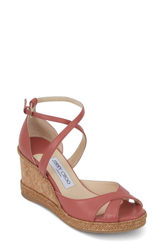 Jimmy Choo Alanah Rosewood Leather Wedge Sandal, 80mm