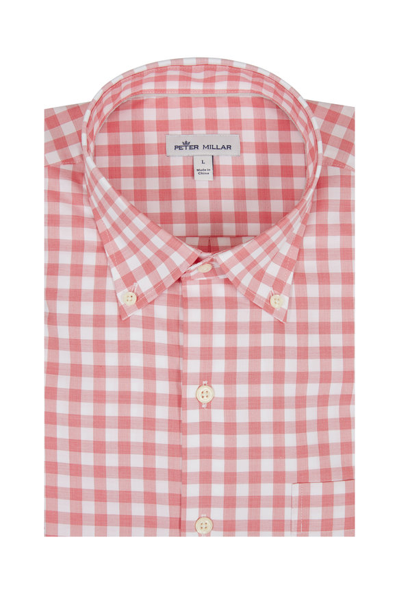 Peter Millar Broadwater Red Gingham Sport Shirt