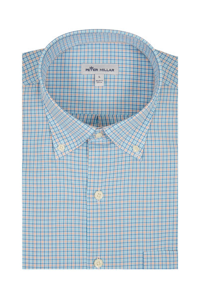 Peter Millar - Blue & Orange Mini Check Sport Shirt