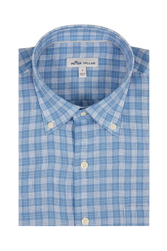 Peter Millar Light Blue Caves Check Sport Shirt