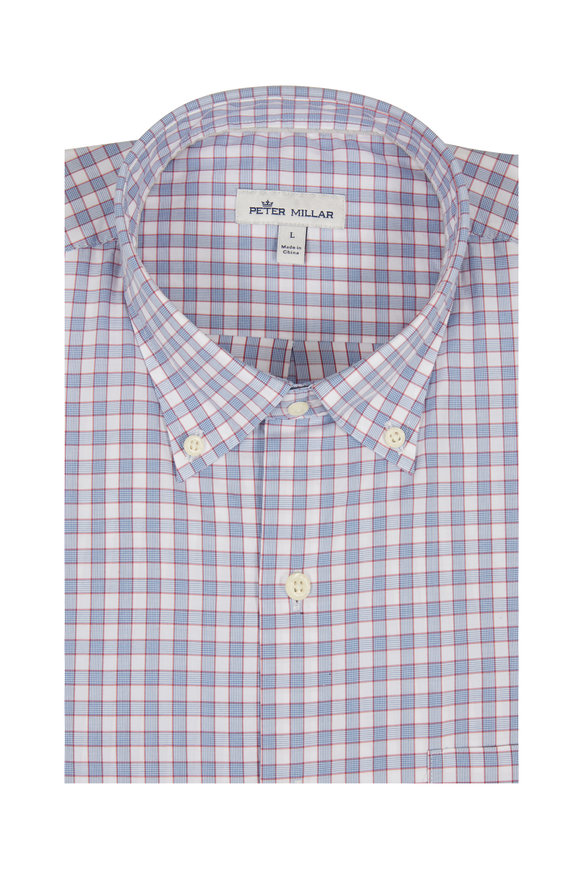 Peter Millar Lewes Blue Glen Plaid Sport Shirt