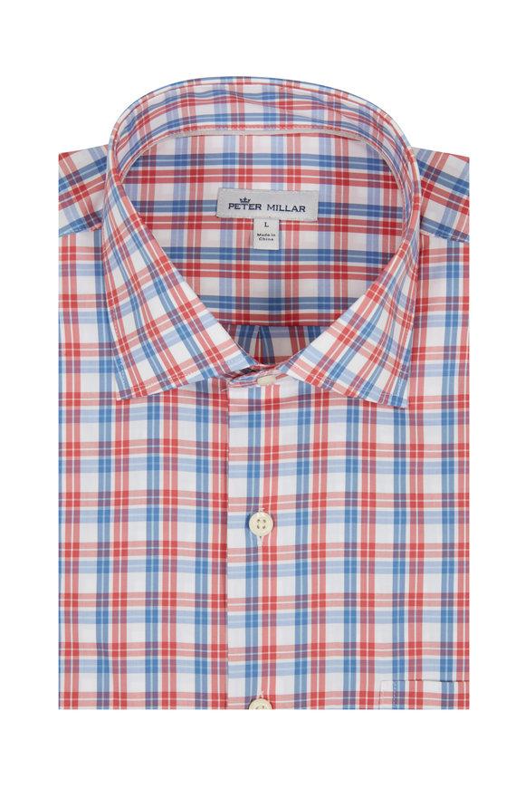Peter Millar Churchill Red & Blue Plaid Sport Shirt