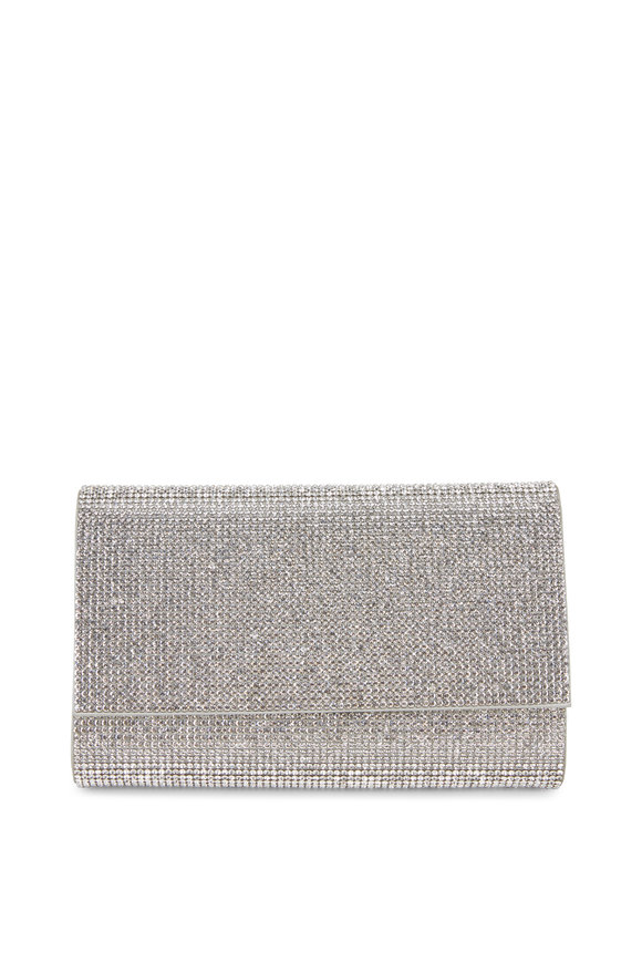 Judith Leiber Fizzy Silver Crystal Chain Clutch