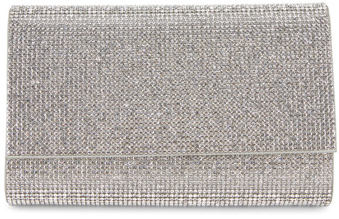 Judith Leiber Couture Fizzy Silver Crystal Chain Clutch