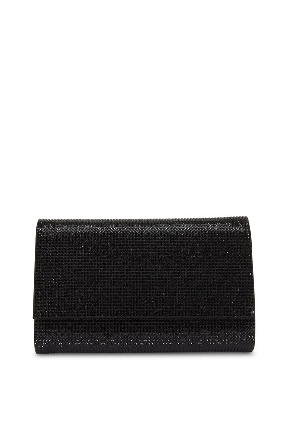 Judith Leiber Fizzy Black Crystal Chain Clutch