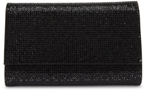 Judith Leiber Couture Fizzy Black Crystal Chain Clutch