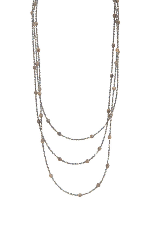 Brunello Cucinelli Wood & Spinel Wrap Convertible Necklace