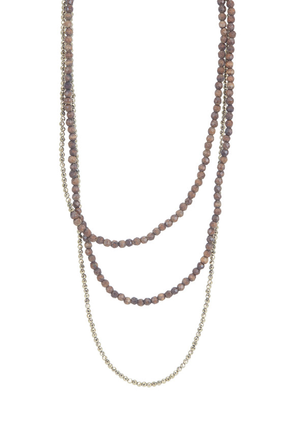 Brunello Cucinelli Wood & Pyrite Beaded Wrap Convertible Necklace