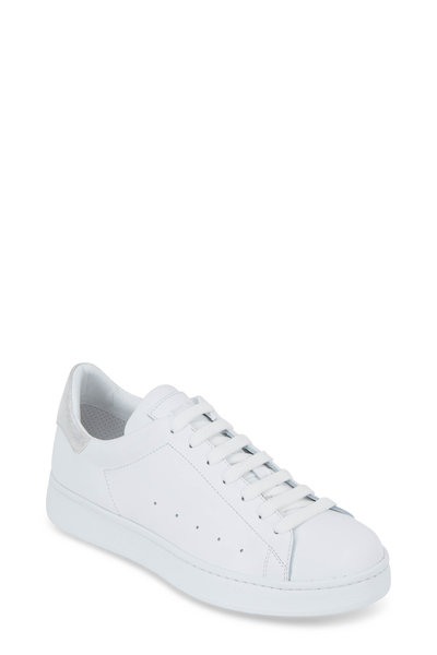 To Boot New York Women - White Leather Silver Heel Lace-Up Sneaker