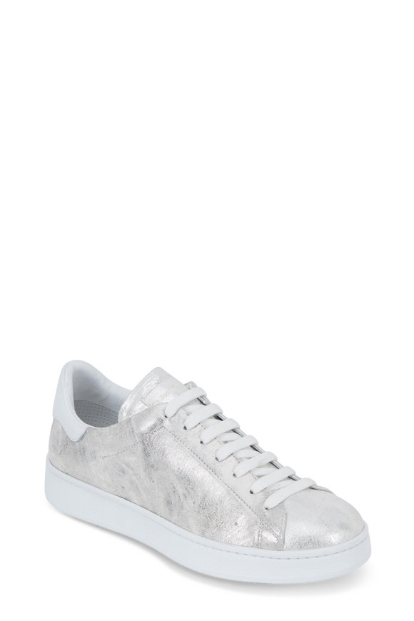 To Boot New York Women Brushed Silver Leather Lace-Up Sneaker