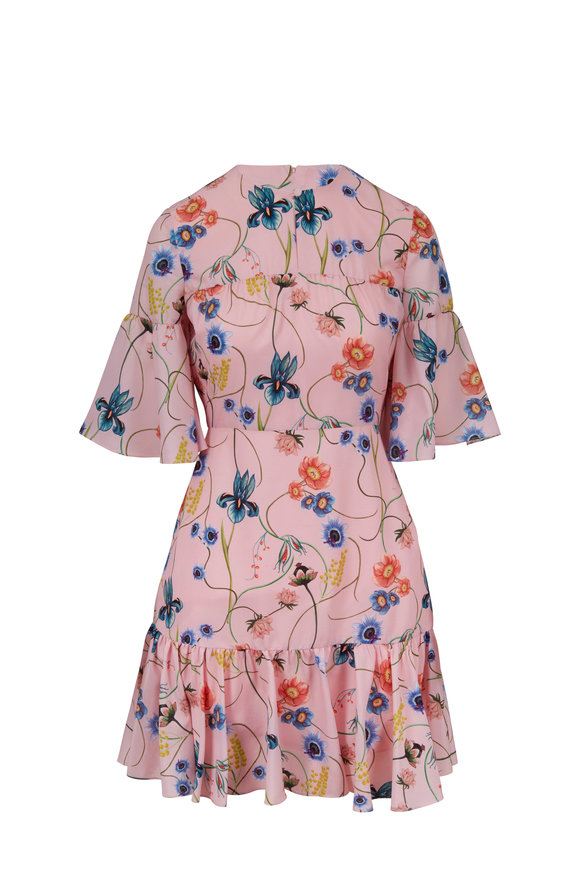 Borgo De Nor Alba Pink Vintage Flower Printed Ruffle Dress