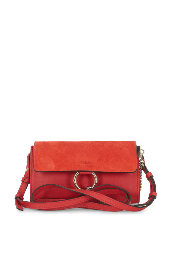 Chloé Faye Nano Plaid Red Leather & Suede Mini Crossbody