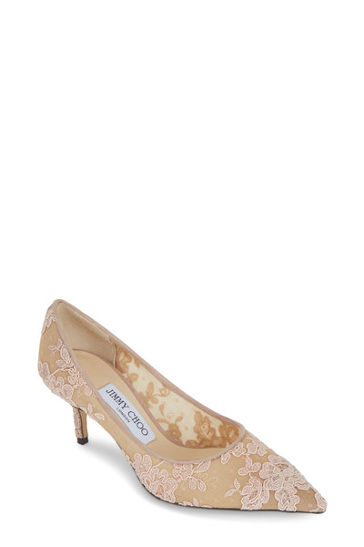 Jimmy Choo - Love Ballet Pink Floral Lace Pump, 65mm