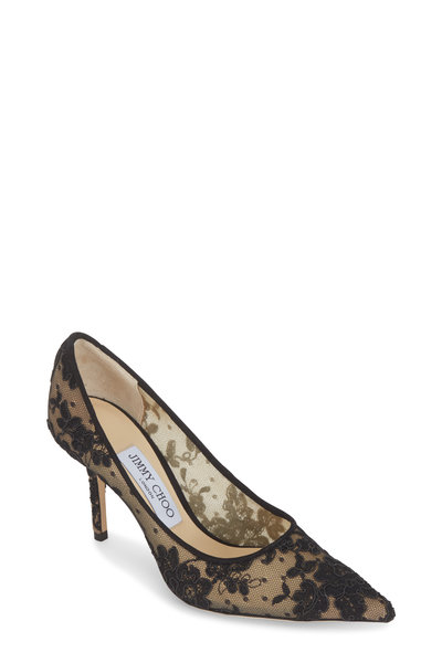 Jimmy Choo - Love Black Floral Lace Pump, 85mm