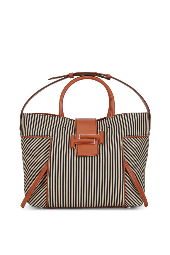 Tod's Black & Beige Striped Canvas Large Tote