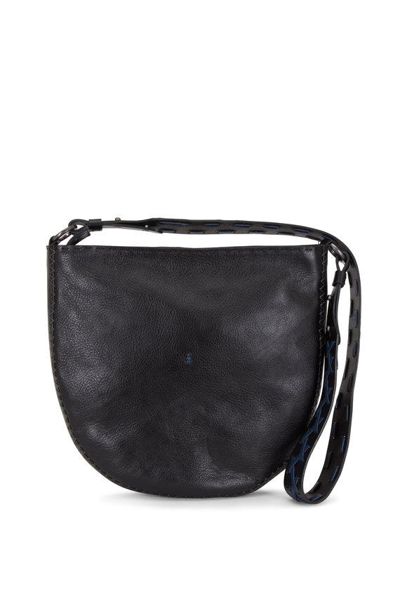 Henry Beguelin Susy Black With Blue Whip-Stitching Hobo Bag