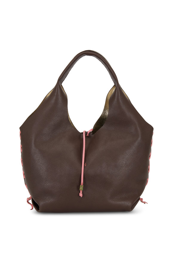 Henry Beguelin Canotta Brown & Pink Whip-Stitch Detail Hobo Bag