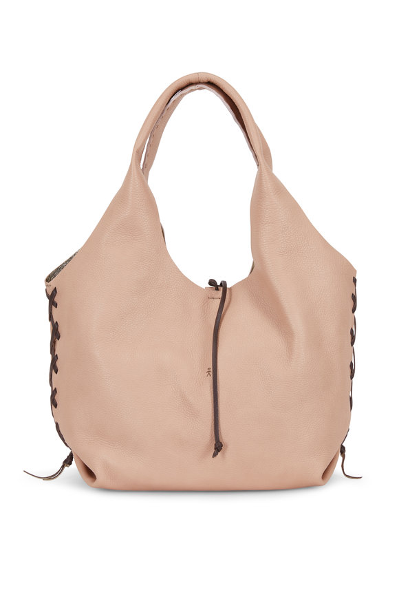 Henry Beguelin Canotta Nude & Brown Whip-Stitch Detail Hobo Bag